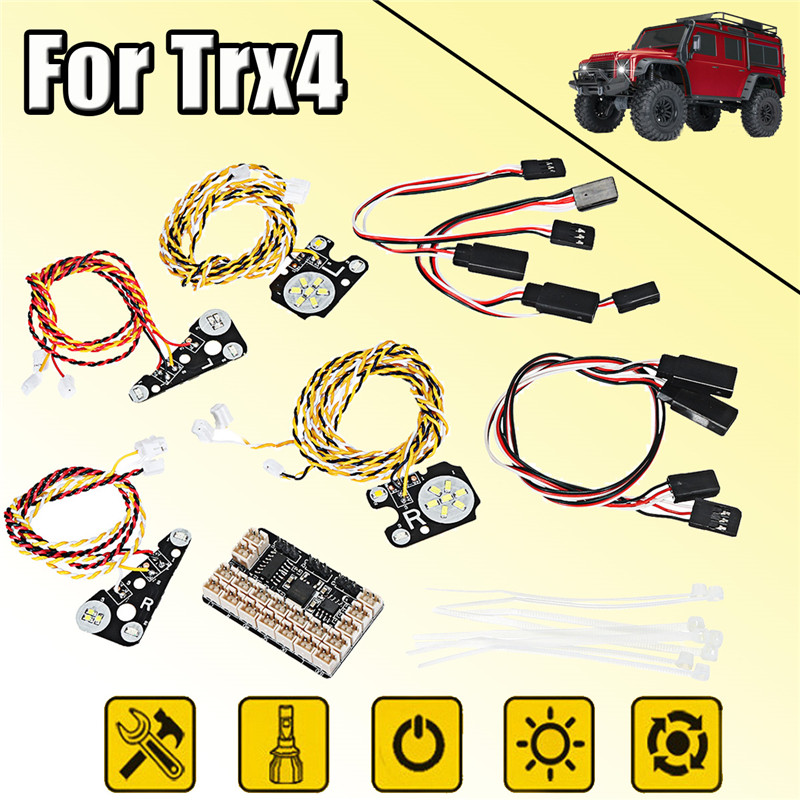 New LED Front + Rear lights + IC Lamp Group +Extension Lines Kit For TRAXXAS Trx4 RC CAR Control Parts Electric monogatari series shinobu oshino 1 8 scale painted figure bath ver doughnut pvc action figure collectible model toy 10cm kt3855