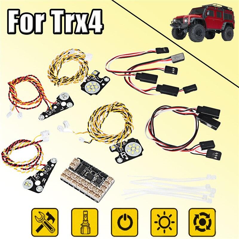 Nuevo LED frontal + luces traseras + IC lámpara grupo + líneas de extensión Kit para TRAXXAS Trx4 coche de Control RC partes eléctricas