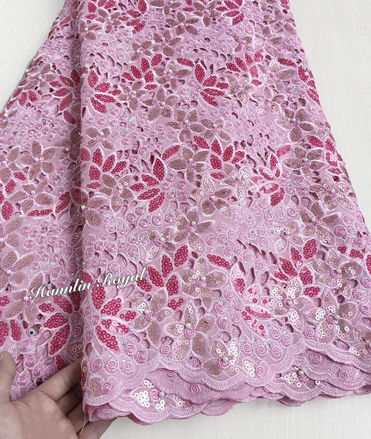 Top grade unique pink Handcut organza lace African Swiss lace fabric with Lots of Beads Sequins