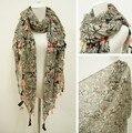 Бесплатная доставка продажа новый элегантный старинные этнические геометрия неон жидкости кисточки длинный мыс шарф платки солнце - вс-затенение шарф для женщин
