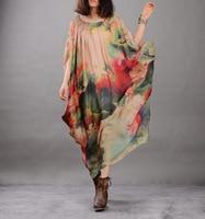 Women Fashion Printed Wrinkle Dress And Spaghetti Strap Dress Suits Suit Dress Female Bat Sleeve Plus