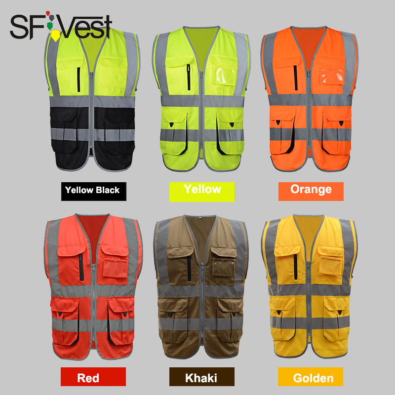 SFVest Men's Fluorescent Yellow Orange Construction Hi Vis Vest Safety Reflective Vest With Zipper Logo Printing Free Shipping