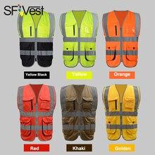 SFVest gilet hi vis de construction fluorescent jaune et orange, gilet de sécurité réfléchissant avec impression de logo, avec fermeture éclair, livraison gratuite