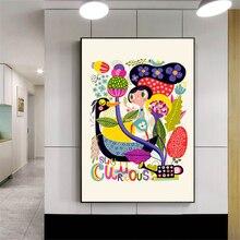 Modernen Minimalistischen Kinder Poster Bunte Schafe Vogel Anlage Leinwand  Bilder Für Wohnzimmer Kinderzimmer Dekor Wandkunst(