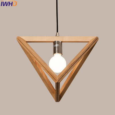 IWHD Wood Suspension Luminaire Modern Pendant Lights Led triangle Hanging Lamp Home Lighting Fixtures Dining Room kitchen Light