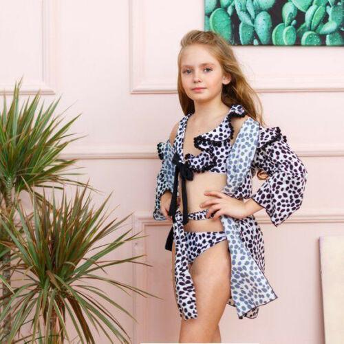 Hot Kids Girls Babe Swimwear Two-pieces Bikini Set Leopard Print Ruffles Summer Bathing Suit Beach Wear Cover Up Swimwear 1-6T