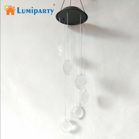 LumiParty LED Solar Light Creative Wind Chime Outdoor Color Changing Hanging Pendant Lamp Decoration for Garden Courtyard Porch