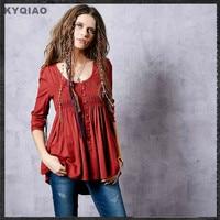 KYQIAO Women autumn spring boho hippie long sleeve o neck red black solid blouse ethnic shirt camisas femininas roupa SA10167Q