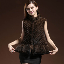 ZDFURS* натуральный вязаный норковый меховой жилет для женщин высокое качество полосатый тканый натуральный мех норки жилеты женские куртки без рукавов