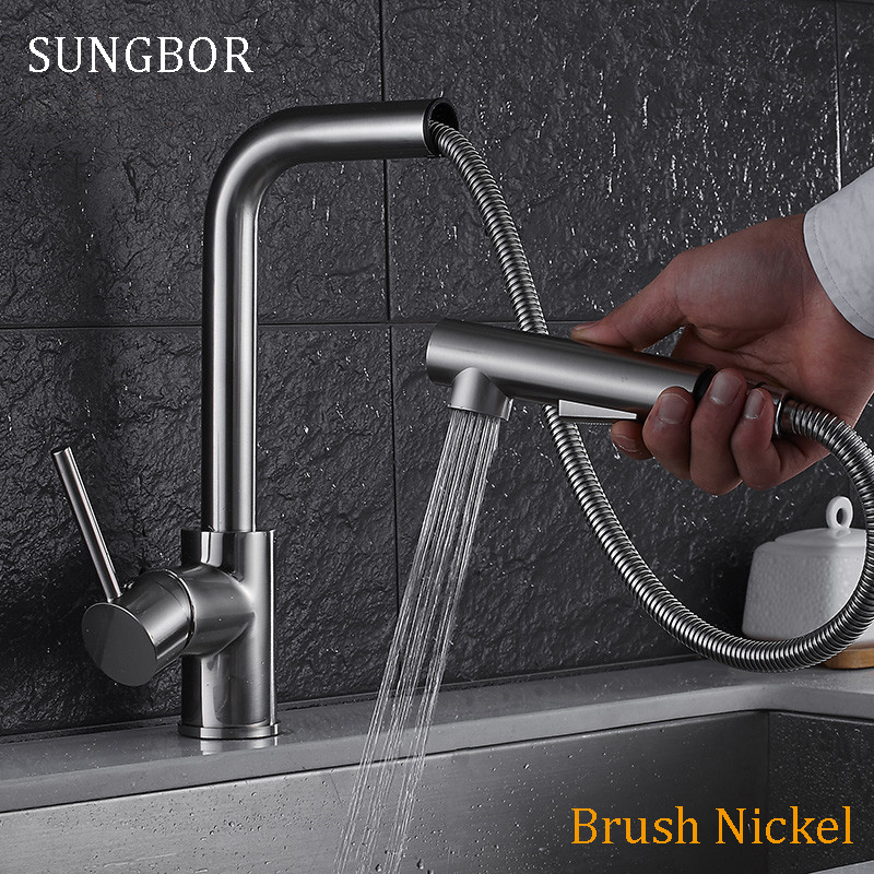 Kitchen Faucet Single Handle Pull Out Kitchen Tap Single Hole Handle 360 Rotate 304 Stainless Steel Swivel Sink Mixer Tap 9916S смеситель для кухни omoikiri nagano be 4994044