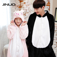 Christmas Animal Pajamas One Piece Brand Flannel Winter Kigurumi Cartoon Sleepwear Adult Woman Pink Peppa Pig
