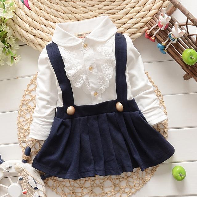 Nuevo 2015 del otoño del resorte de imitación del collar del cordón 2 unids niñas Correa vestido de manga larga recién nacido vestido del juego de vestido 0 ~ 2 edad de la muchacha infantil