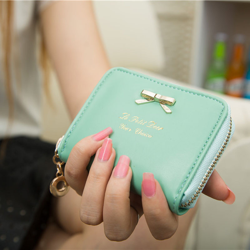 Women Wallets Purses Cute Bow Zipper Clutch Bags Fashion Lady Girl Short Small Wallet Bag PU Leather Credit Card Holder New fashion women coin purses dots design mini girl wallet triple zipper clutch bag card case small lady bags phone pouch purse new