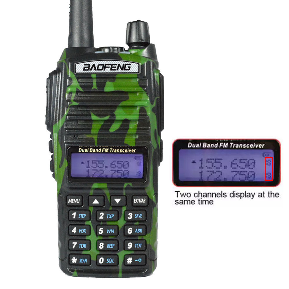 Walkie-talkie baofeng uv-82 camo camoflage green 5w two-way radio better than transceiver baofeng uvb2 5r uv-5r a58