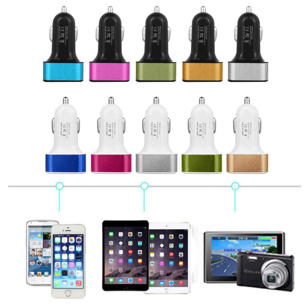 3 renk 3 Port USB Araç şarj adaptörü 12-24 V 5.1A Hızlı Şarj Araç iphone şarj cihazı ve ipad Masa GPS güç bankası