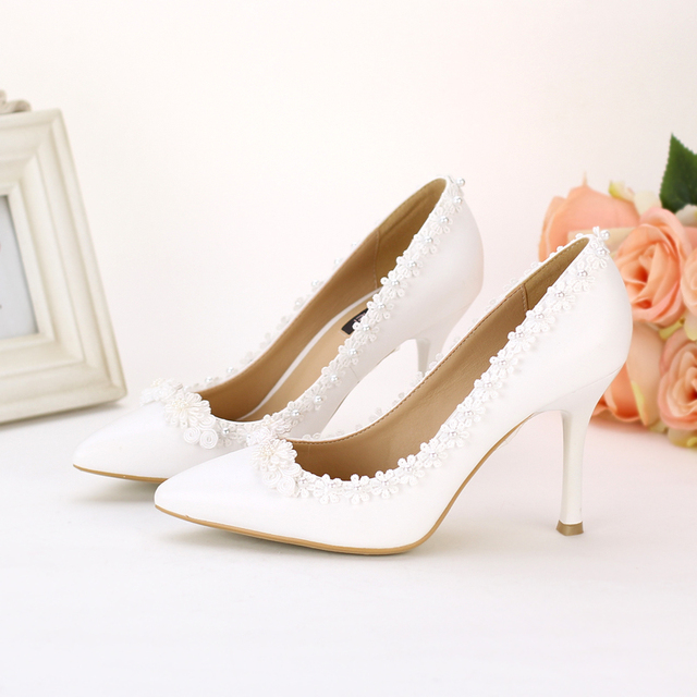 ebcd31037cf8f White pearl lace flower pointed toe bridal shoes classical thin heels  high-heeled shoes formal dress shoes