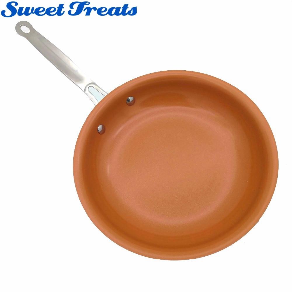 Сладкие угощения антипригарным Медь сковорода с Керамика покрытие и индукционных плитах, печи и мыть в посудомоечной машине 10 и 8 дюйм(ов)