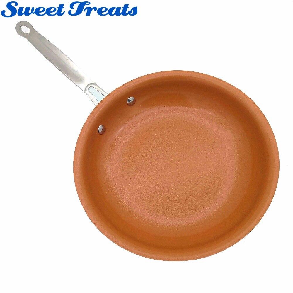 Sweettreats sartén de cobre antiadherente con revestimiento de cerámica y cocina de inducción, horno y lavavajillas seguro de 10 y 8 pulgadas