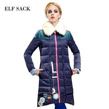 ELF SACK модный бренд новое прибытие 2015 зима женщины утолщение X-долго печати меховой воротник вниз пальто ПОЛО воротник бесплатная доставка