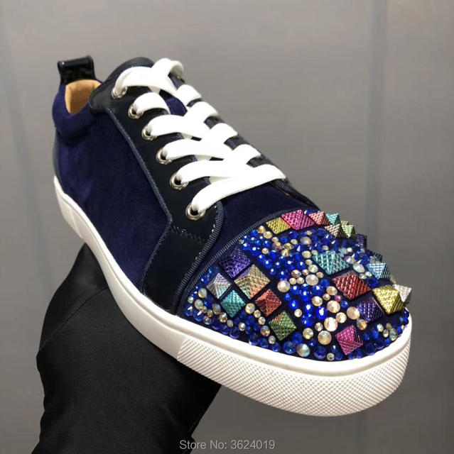93fb30f5f18b Low-Cut clandgz Men Purple Flat Lace-up Rhinestone And Rivets Red bottom  shoes Sneakers Leather Loafers 2018 Footwear Spring