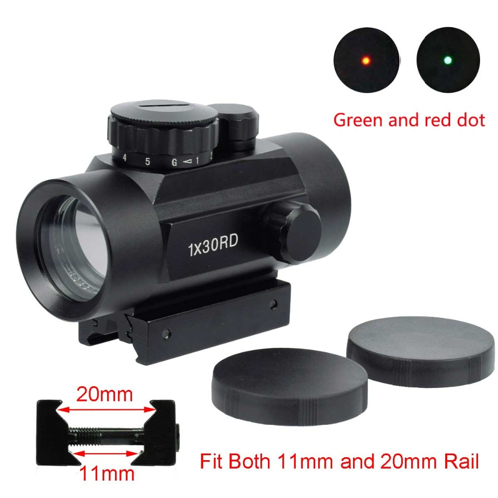 Tático 1X30 Holográfica Red Green Dot Sight Scope Riflescope Optics Scope Para A Caça Airsoft Shotgun 11 20mm rifle de ar