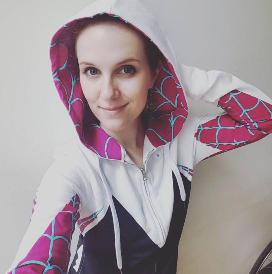 2019 Women Girls Venom Hoodie Cosplay Spider Gwen Stacy Costume 3D Spiderman Superhero Zipper Jacket Hooded Sweatshirt Coat