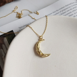 Image 2 - LouLeur 925 sterling silver Pleat ripple moon pendant necklace gold creative design elegant necklace for women festival jewelry