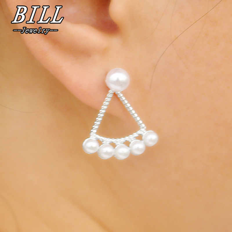 ES2039 Double Sided Women's Stud Earrings Simulated Pearls Ear Jewelry Gothic Brincos Fashion Triangle Earring Promotion