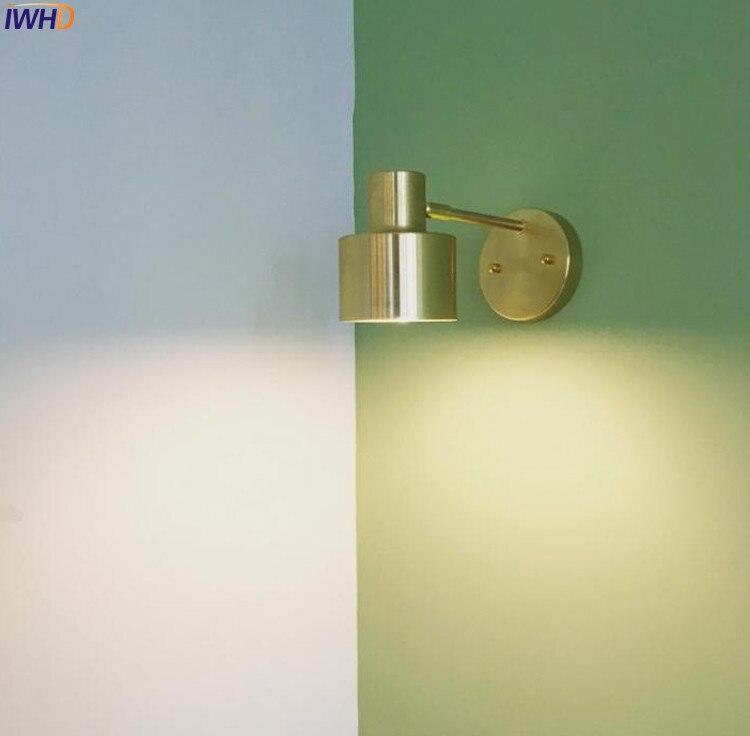 IWHD Nordic Modern LED Wall Light Brass Copper Bathroom Mirror ...