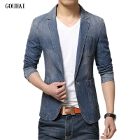 GOUHAI M 3XL Men Denim Blazer Jackets Men Blazer Slim Fit Terno Blaser Masculino Jaquetas Men's Suits Blazer Man Jeans Coats