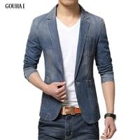 GOUHAI M 3XL Men Denim Blazer Jackets Men Blazer Slim Fit Terno Blaser Masculino Jaquetas Men's Suits Blazer Man Jeans Coats