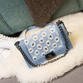 2016 Design Clássico de Lona Denim Acolchoado Grande & Pequeno Saco Cadeia de Senhoras Ombro Crossbody Messenger Bag Flap Bolsa Para O Sexo Feminino