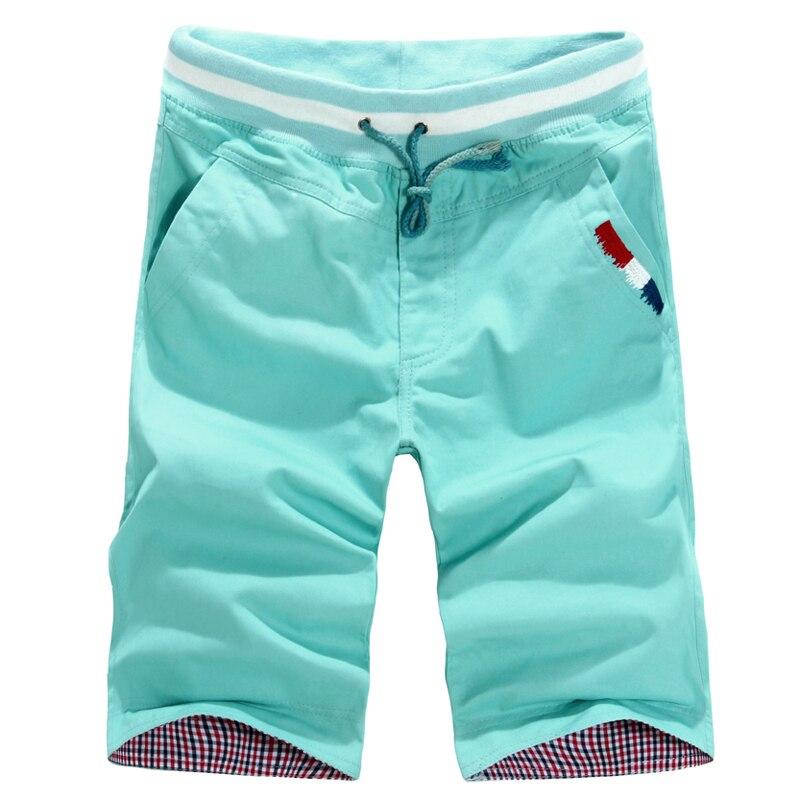 Cortocircuitos ocasionales de los hombres nuevos hombres del verano cintura elástica Shorts longitud de la rodilla masculinos pantalones cortos ocasionales del algodón