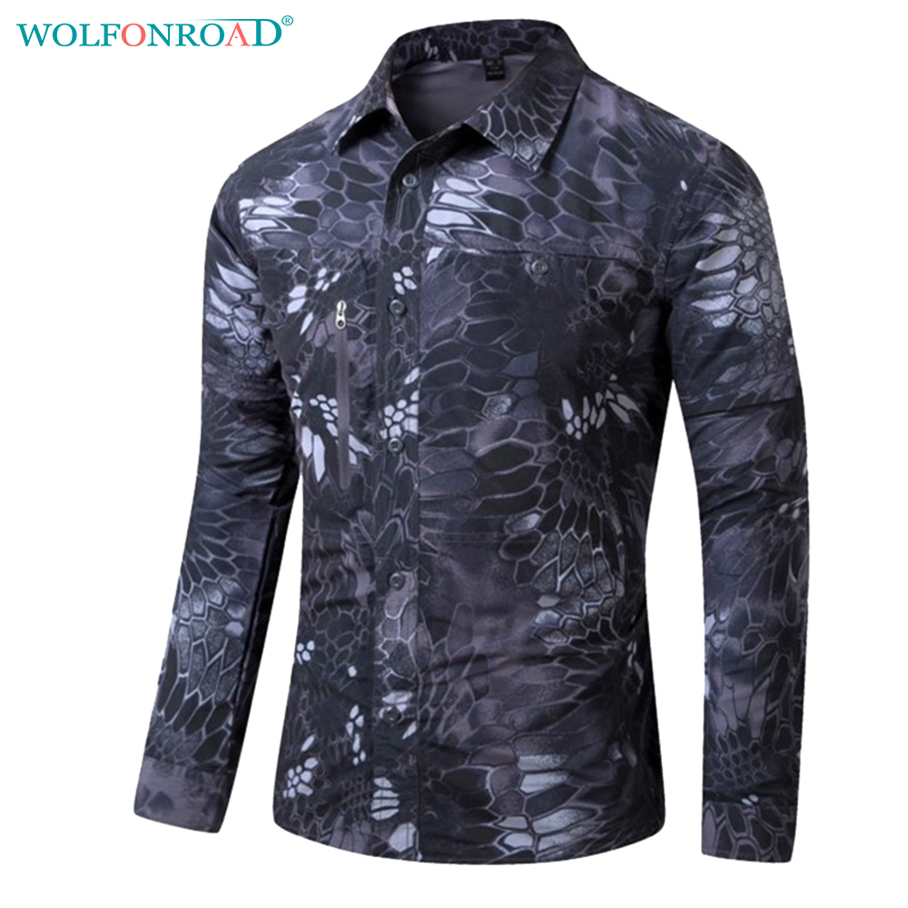 WOLFONROAD Summer Men T-shirt Quick Drying Removable Hiking T Shirt Sports Shirt Men Youth Camouflage Tactical Shirt L-PLY-06 shirt malagrida shirt
