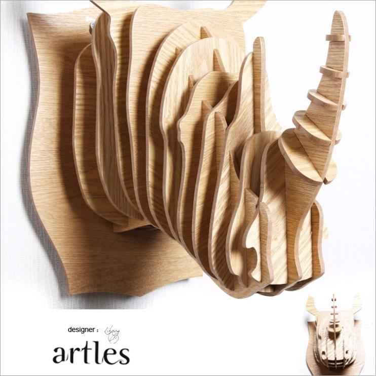 India Africa Rhino Head Wall Decor Diy Wood Wooden Animal