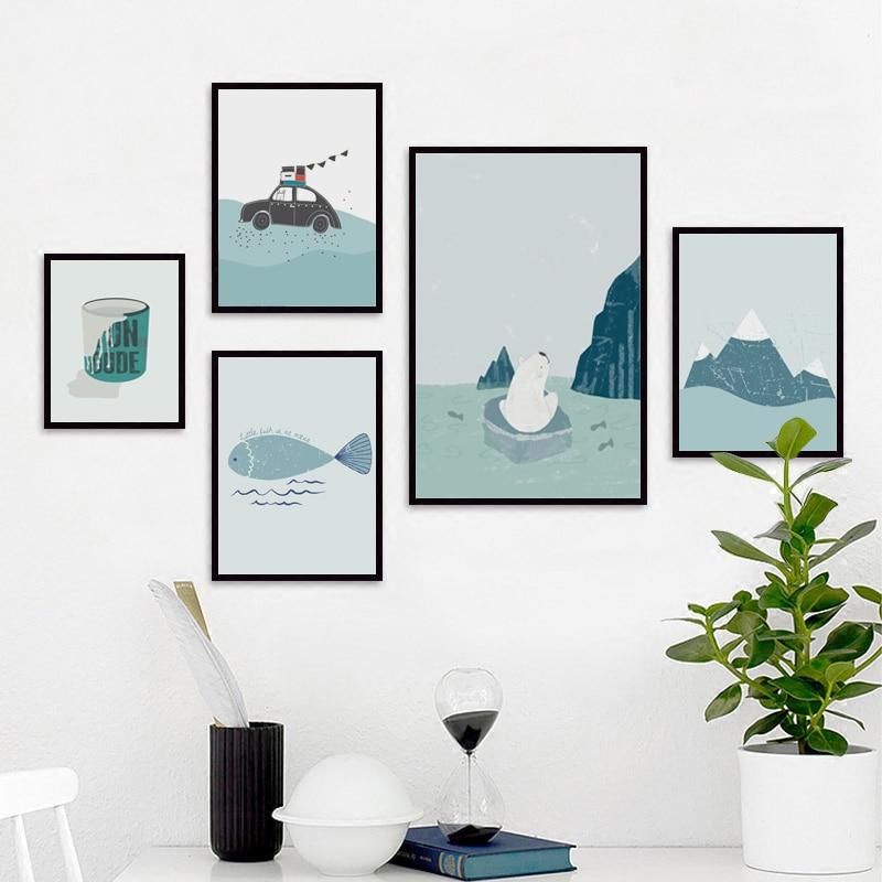Klasická malá arktická medvěda a ryba A4 Kresba na severu a malá umělecká reprodukce na plátně