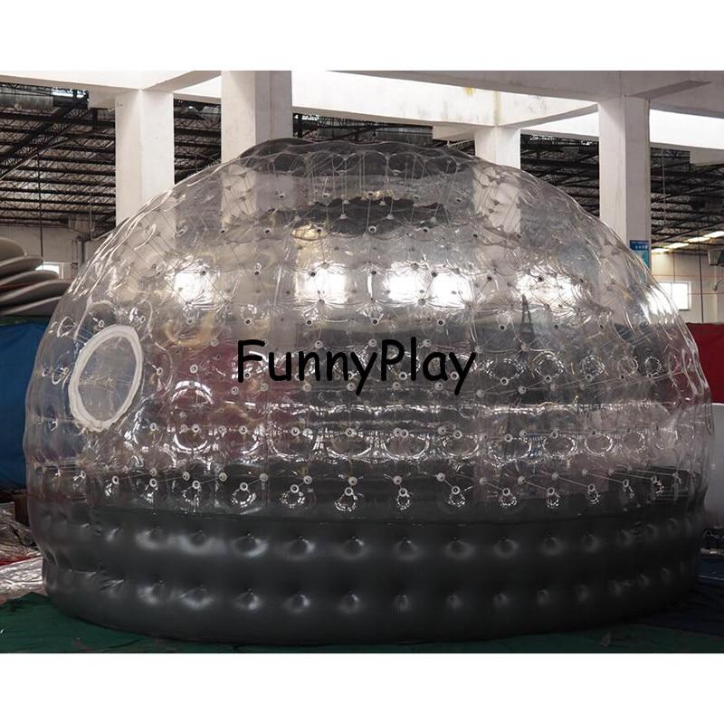 Tente gonflable de bulle de Sauna demi claire maison noire de bulle pour la location d'hôtel, publicité d'arrière cour de Camping de famille - 3
