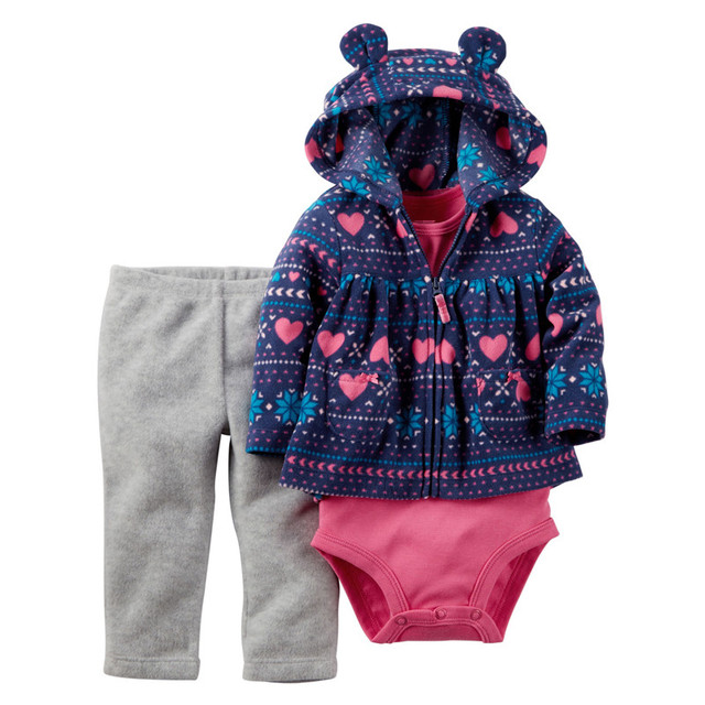 2016 Otoño Invierno Ropa de Bebé 3 unids Muchachas de Los Bebés Ropa establece Coat + Monos + Pantalones Fleece Chaquetas de Algodón Monos V30