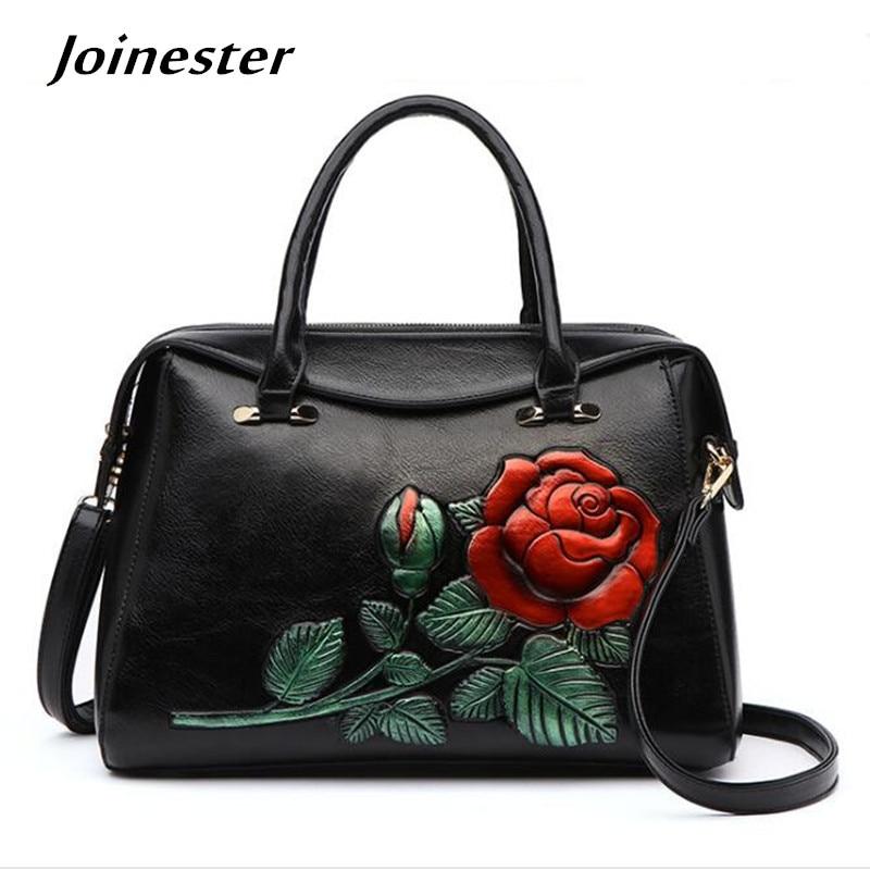 Women PU Leather Top Handle Retro Rose Satchel Handbag Chinese Style Trendy Shoulder Bag Fashion Lady Crossbody Tote Bag Purse women top handle satchel handbags shoulder bag tote purse greased leather