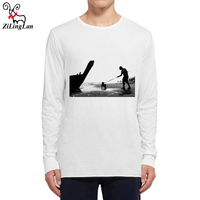 Zilinglan Sea Men And Dog Funny Men T Shirt Long Sleeve O Neck Mens T