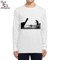 Zilinglan Sea Men And Dog Funny Men T Shirt Long Sleeve O Neck Mens T
