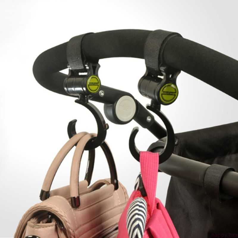 2 Pcs รถเข็นเด็กทารกรถเข็นอุปกรณ์เสริม 360 องศาลื่นร่ม Carriage Hooks Velcro