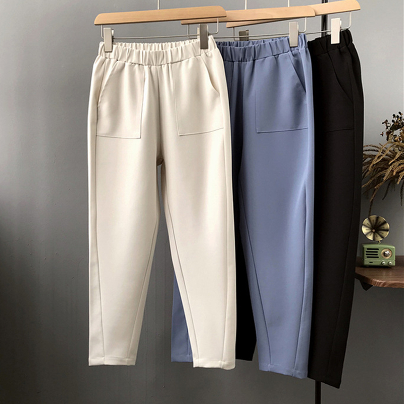 2019 Fashion Elastic Waist Pencil   Pants   Woman Ankle Length Solid High Waist Casual   Capris     Pant   Pockets