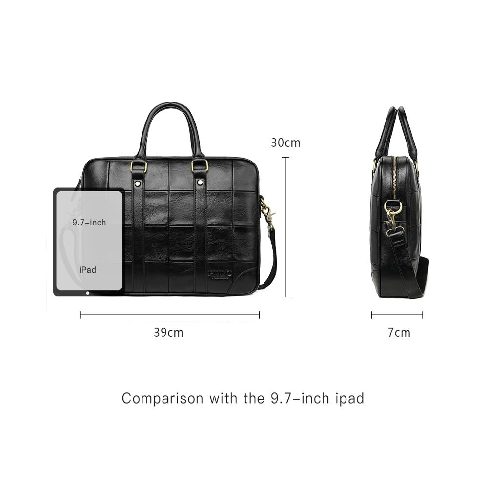 Image 5 - VICUNA POLO Classic Big Plaid Design Black Mens Leather Laptop Briefcase Solid Fashion Men's Leather Handbag Shoulder Bags-in Briefcases from Luggage & Bags