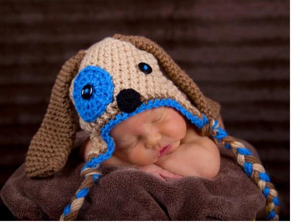 Gratis verzending Handgeweven baby hoed mooie hond oorbeschermers - Babykleding