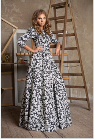 2015 new fashion hot style explosion model three quarter sleeve flower print long women beautiful dress printed dressA010 - Beautiful sexy women's clothing store