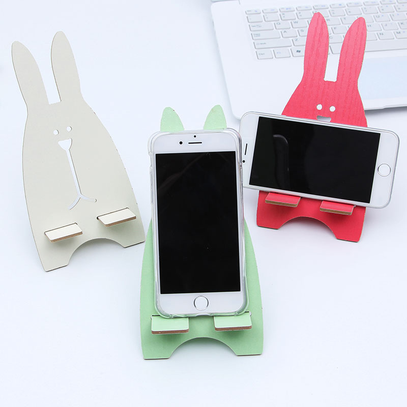 Wooden Universal Phone Holder Cute Rabbit Desk Stand Charging Bracket For ASUS ZenFone G500TG ZB551KL ZB552KL ZC551KL ZB690KG