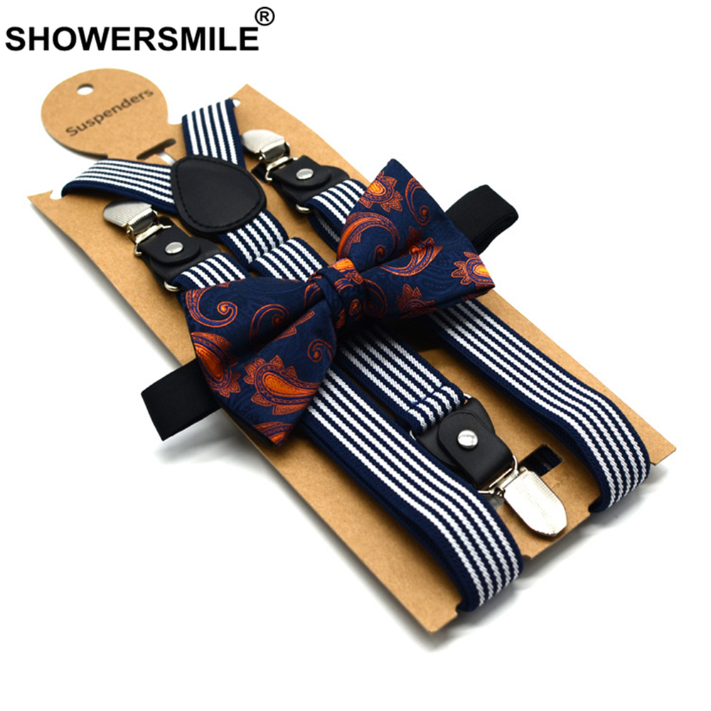 SHOWERSMILE Mens Trouser Suspenders Bowtie Set Male Suspender Pants Navy White Striped Vintage Wedding Shirt Braces for Men