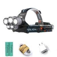 13000LM 5 LED 3 T6 2 Q5 LED Headlamp 5 Mode Hunting Waterproof Headlight Outdoor Micro