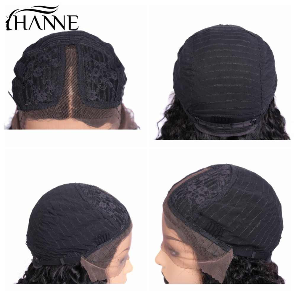 Cabello HANNE Jerry Pelo Rizado remyhumano pelucas delanteras longitud del hombro Bob Peluca de pelo brasileño 150% línea de cabello Natural para mujer 1B #